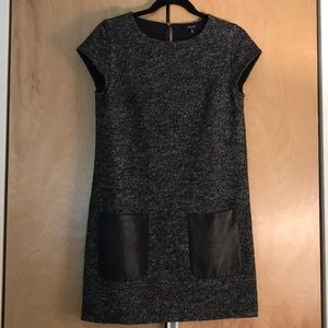 NWOT Madewell Wool & Leather Shift Dress